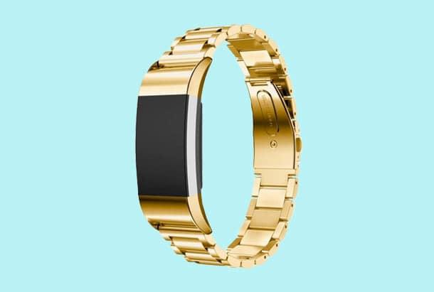 Fitbit Charge 2 gouden armbandje - Metalen armband - Gold