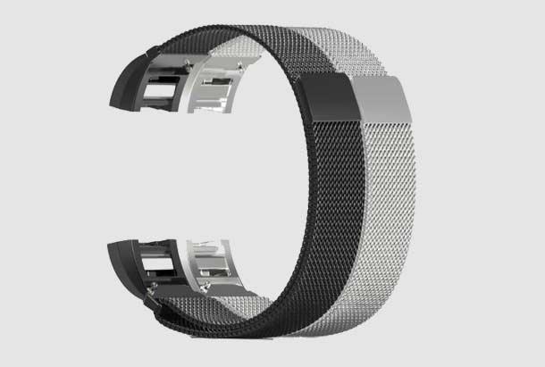 Fitbit Charge 2 bandje Milanees Zwart en Zilver van metaal