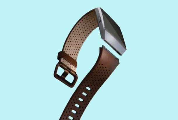 Fitbit Ionic Smartwatch Leren Pols Bandje Cognac kleur