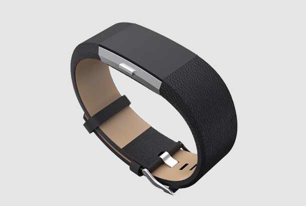 Leren Bandje Zwart geschikt voor Fitbit Charge 2