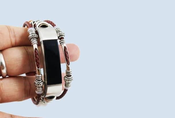 Bandje Leer Bruin Ibiza style geschikt voor Fitbit Alta en Alta HR