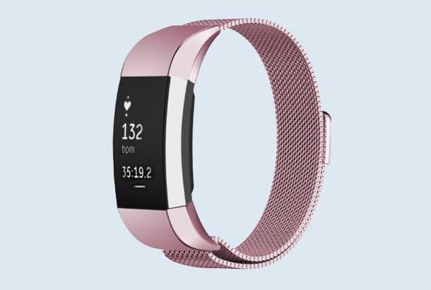 FitBit Charge 2 Bandje Roze Milanees Roestvrij Staal
