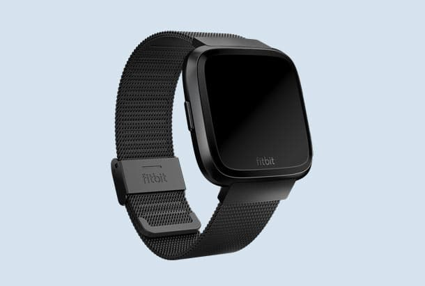 Fitbit bandjes - Fitbit Black Stainless Steel Metal Mesh Band