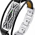 Fitbit Flex 2 – Metalen en leren bandje Diamond Woven – zwart zilver