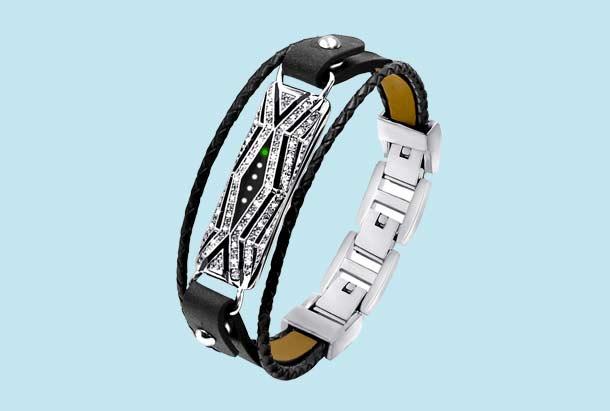 Fitbit Flex 2 Metalen en leren bandje diamond woven zwart zilver