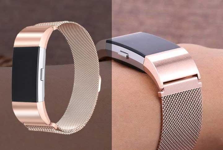 Fitbit charge 3 bandjes Milanees bandje Rose Goud