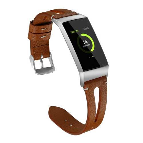 Bandje leer double bruin geschikt voor Fitbit Charge 3
