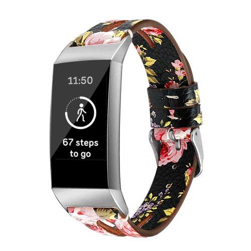 Fitbit Charge 3 Leren Bandje - Bloemen - Roze