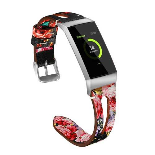 Fitbit Charge 3 Leren Bandje - Pink Flower