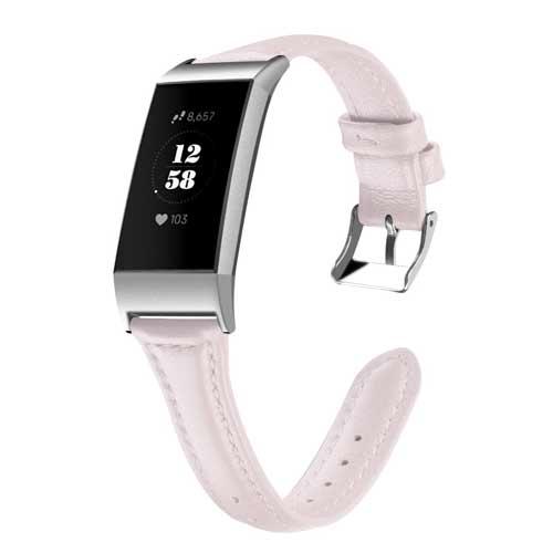 Bandje leer roze geschikt voor Fitbit Charge 3