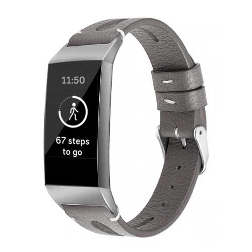 Fitbit Charge 3 Leren Bandje - Grijs