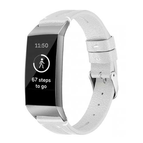 Fitbit Charge 3 Leren Bandje - Wit