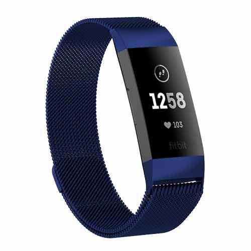 Fitbit Charge 3 Milanees bandje Blauw