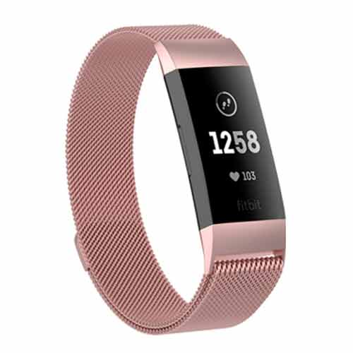 Fitbit Charge 3 Milanees bandje Rose Roze