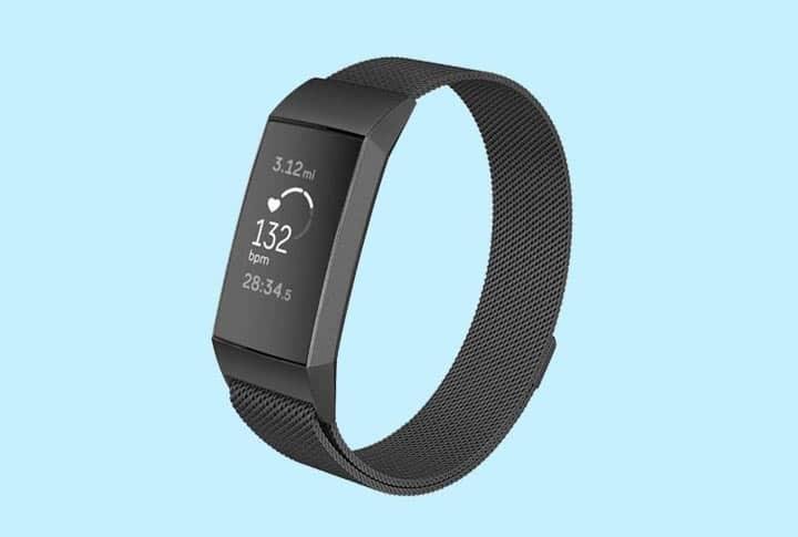 Fitbit Charge 3 bandjes Milanees metalen zwarte armband