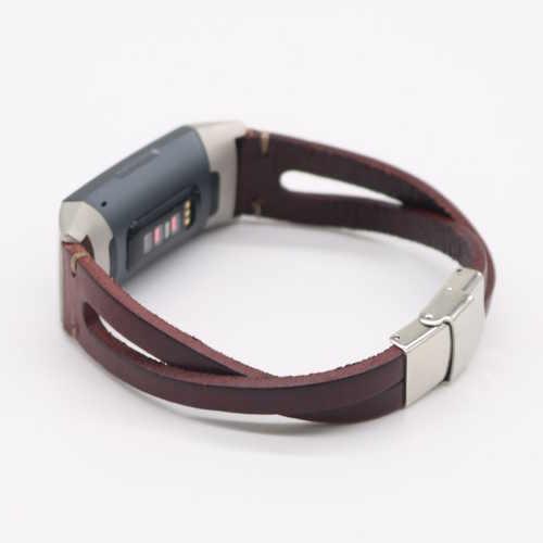 Twist bandje Leer Bruin geschikt voor Fitbit Charge 3