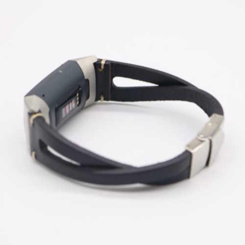 Twist bandje Leer Zwart geschikt voor Fitbit Charge 3