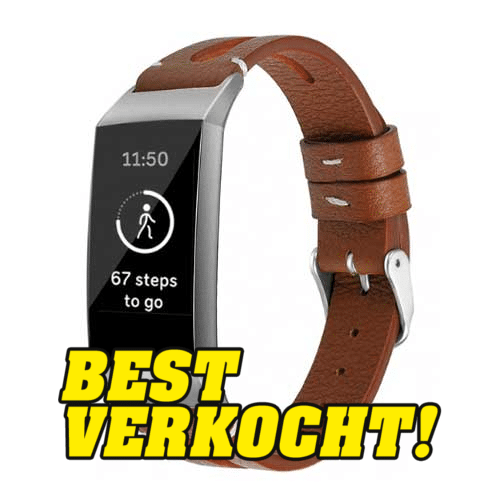 Fitbit Charge 3 Leren Bandje - Bruin