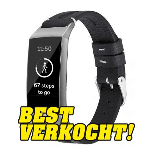 Fitbit Charge 3 Leren Bandje - Zwart