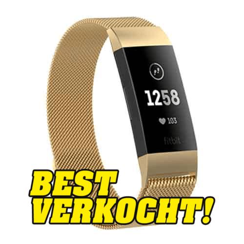 Fitbit Charge 3 Milanese Horloge Bandje Goud