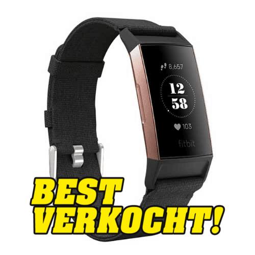 Fitbit Charge 3 Bandjes - Geweven Band Zwart - Fitbit Kopen