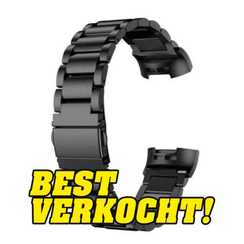 Fitbit Charge 3 metalen bandjes - RVS metalen armband - Zwart