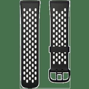Fitbit Versa 3/Sense Siliconen Bandje Zwart/Wit L